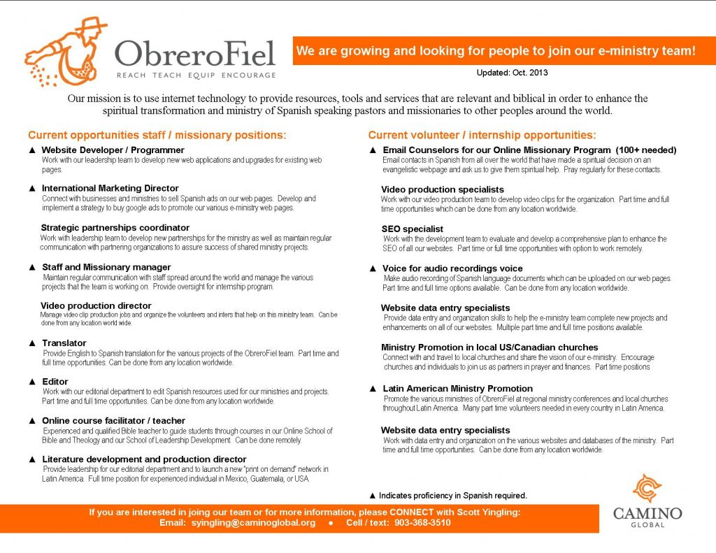ObreroFiel Jobs - Staff - Missionary - Volunteer - Internship Opportunities